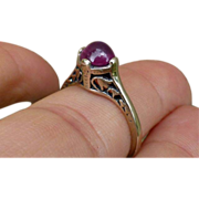 Pretty Art Deco 14K Cabochon Ruby Ring