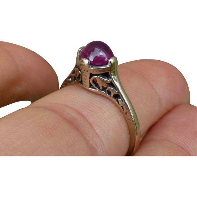 Pretty Art Deco 14K Cabochon Ruby Ring