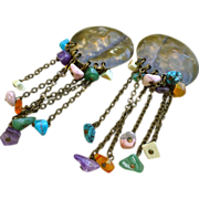 Large Vintage Louis Booth Earrings Brass And Semi Precious Stones