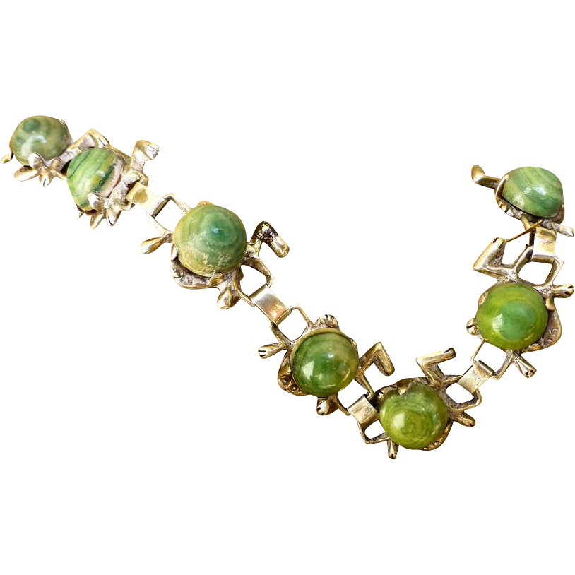 Delightful Early Mexican Frog Bracelet, Sterling Silver And Green Agate
