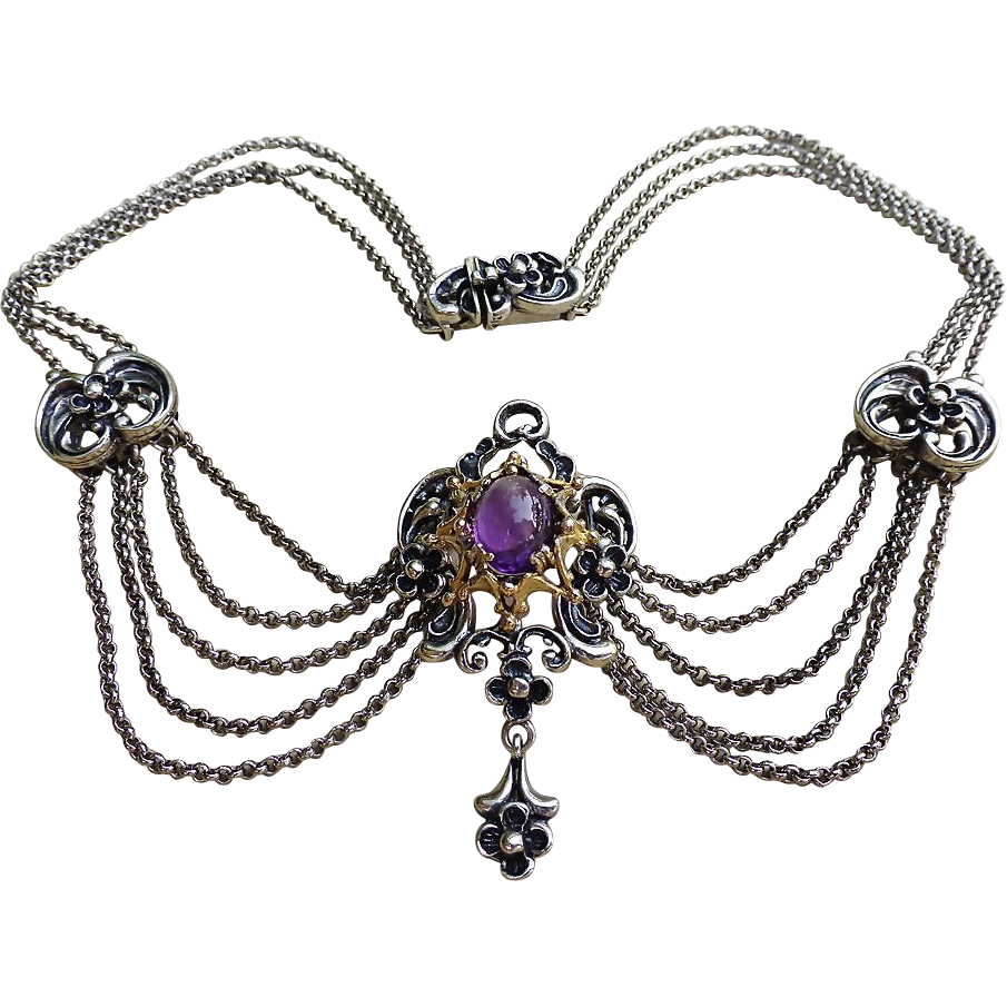 Austrian Festoon Necklace - Amethyst Stone - C1920