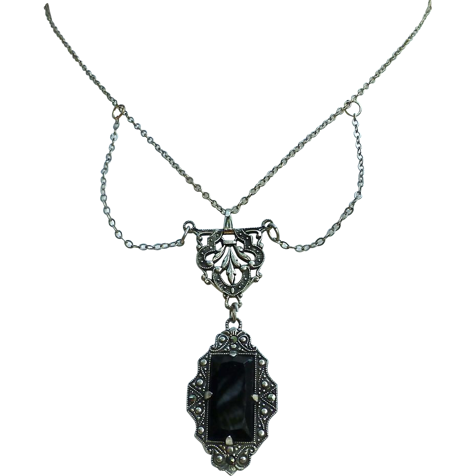 Art Deco Sterling Silver Marcasite & Onyx Festoon Necklace