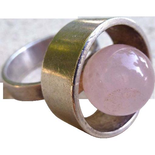 N.E. From Modernist Sterling And Pink Quartz Ball Ring - Denmark