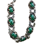 Ornate  Necklace 900 Silver With Green Stones