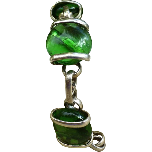 Sterling Modernist Bracelet And Green Glass Stones