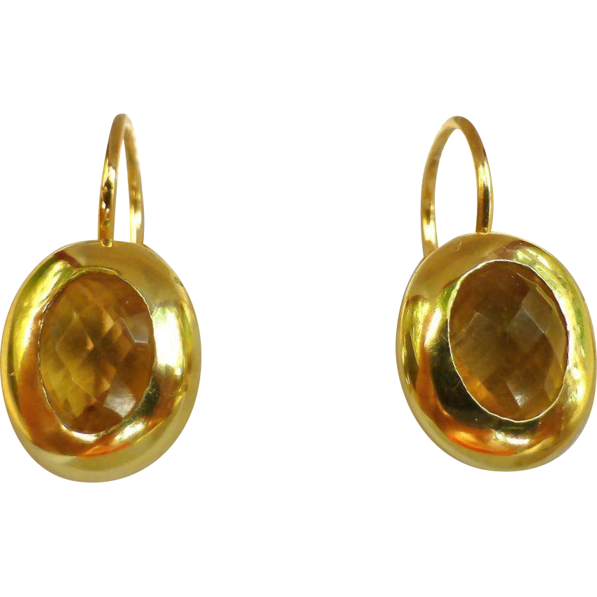 Lovely Estate 14K Gold And Citrine Earrings