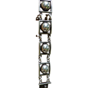 Vintage  French Modernist  Sterling Silver Link Bracelet - Signed