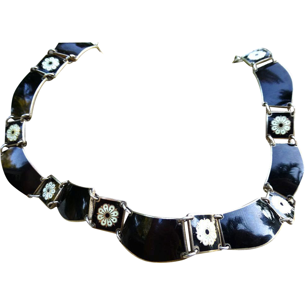 Sterling And Guilloche Enamel Necklace - David Andersen, Norway
