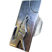 """Vintage  Sterling Silver Native American Howling Wolf Ring- Signed """"S.O"""""""