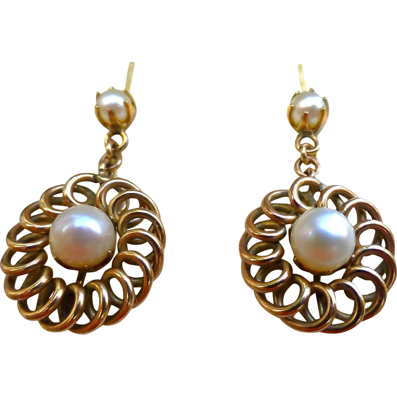 Victorian Gold And Pearl Earrings - 14 Carat