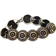 Lisa Jenks Sterling  Silver Bulls-eye Disc  Modernist Toggle Bracelet