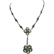 Dainty Art Deco Sterling Silver Marcasite / Chrysoprase Necklace