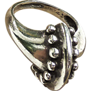 Great Vintage Hand Hammered Sterling Silver Ring