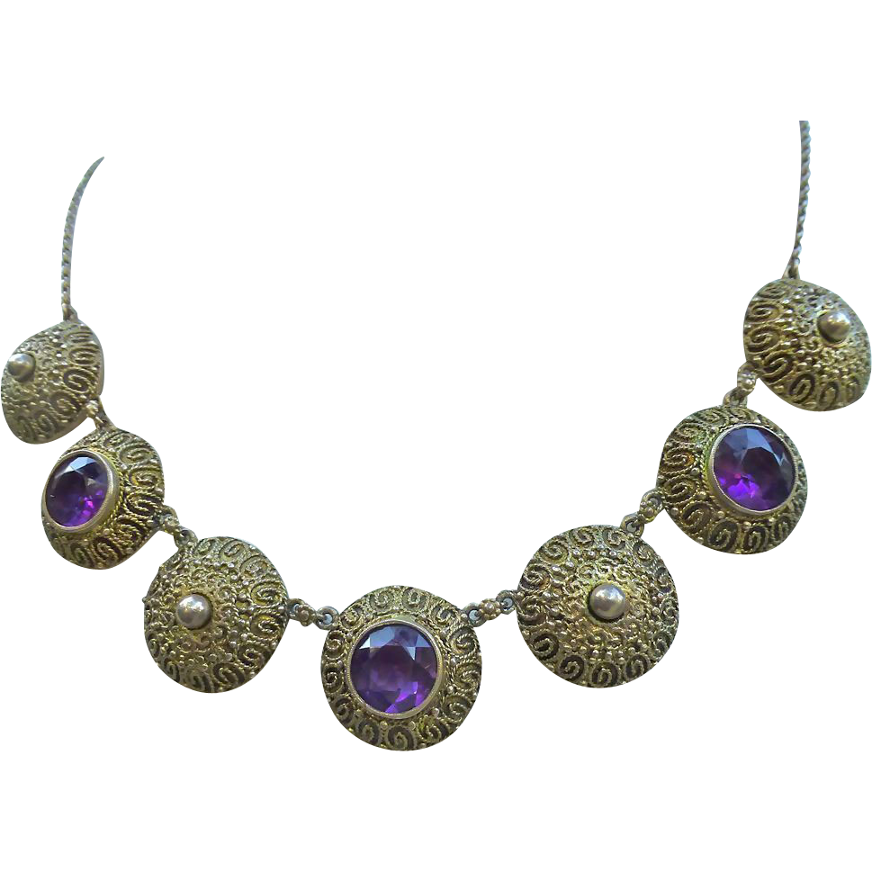 Theodore Fahrner Gilt Sterling Silver Necklace With Amethyst Stones
