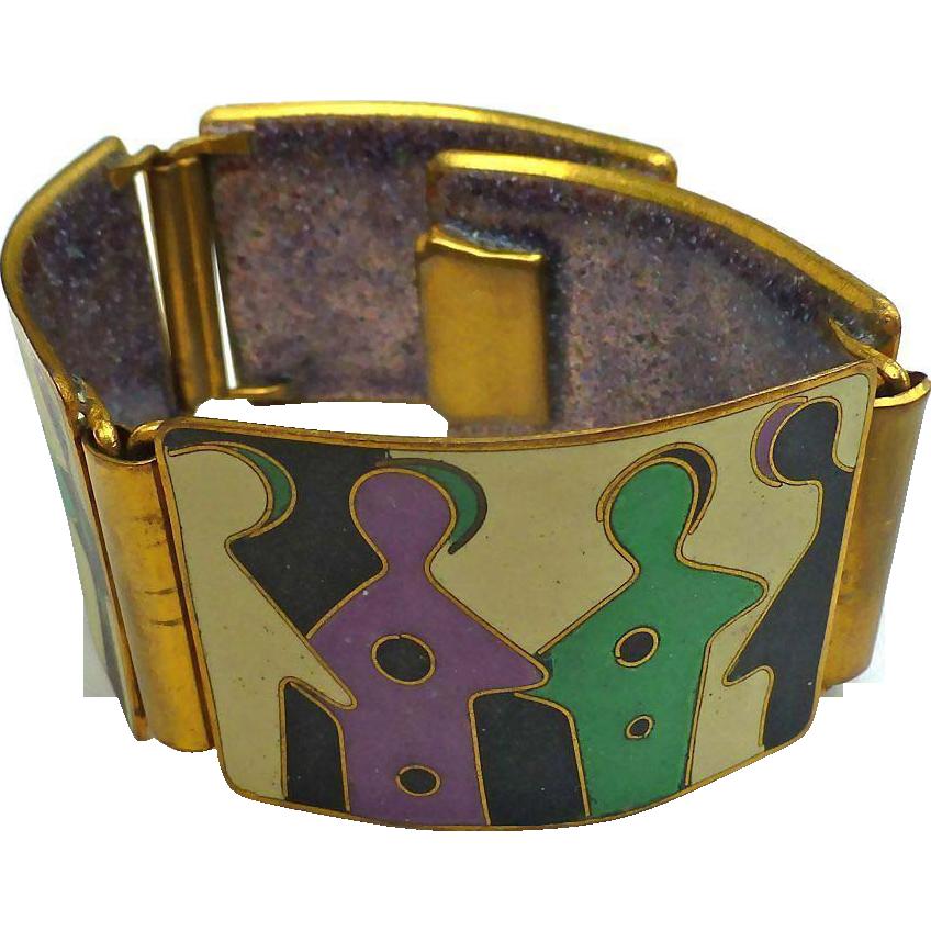 Super Vintage  Abstract Modernist  Germany Enamel Bracelet