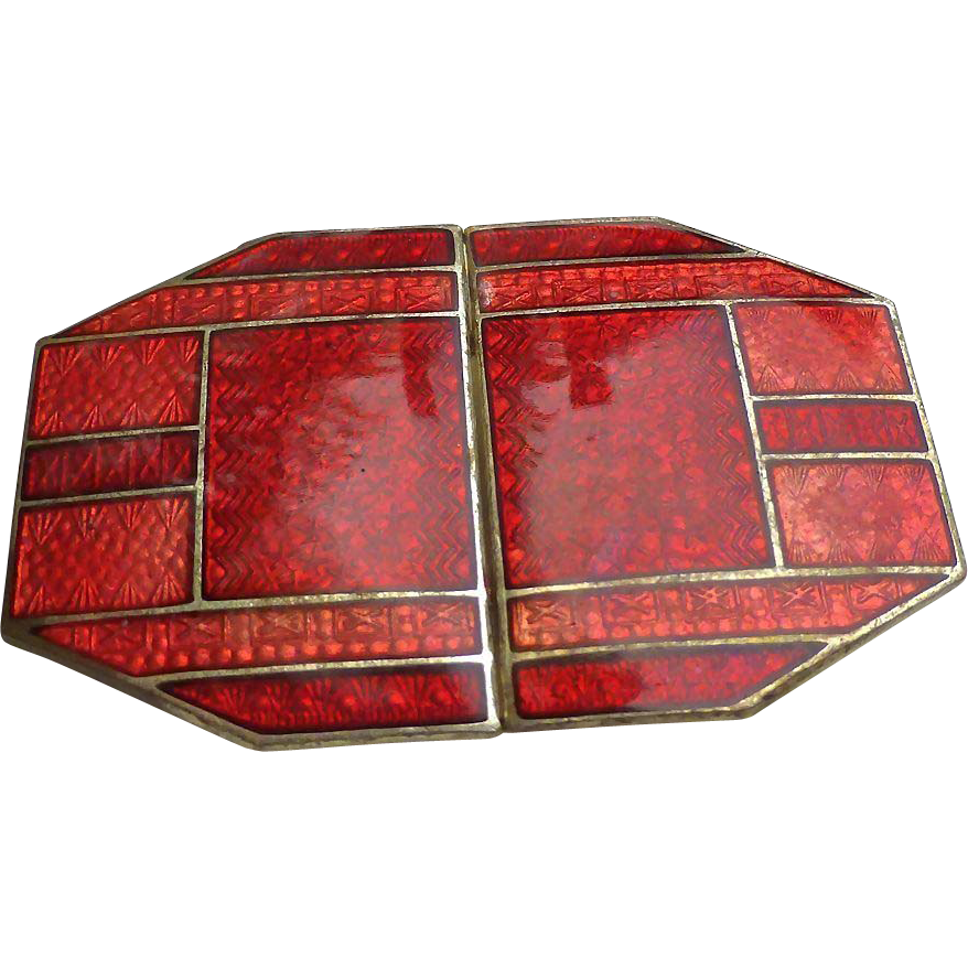 Art Deco German Enamel Guilloche Belt Buckle