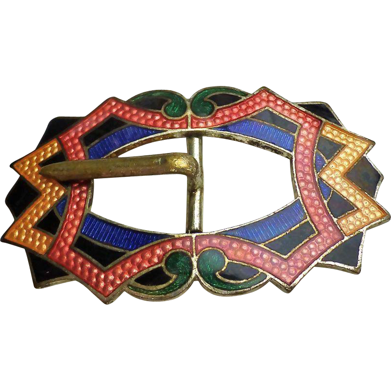Art Deco German Enamel Guilloche  Dress Belt Buckle