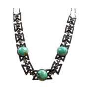 Art Deco Sterling Silver Chocker Necklace - Turquoise And Marcasites