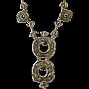 """Modernist """"Brutalist"""" Sterling Silver Pendant Necklace"""