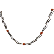 Arts And Crafts Sterling Silver And Coral Necklace - France