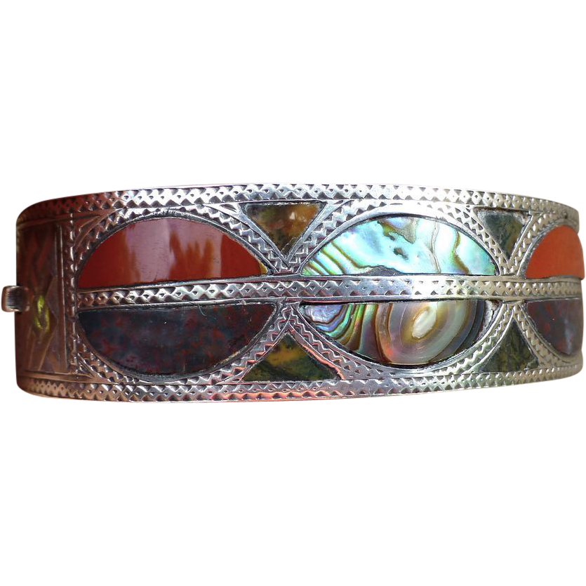 Victorian Engraved Bangle Bracelet, Sterling Silver, Agates And Abalone