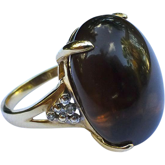 Estate Smokey Topaz Gold Ring