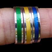 Vintage David Andersen Sterling Silver Enamel Rings