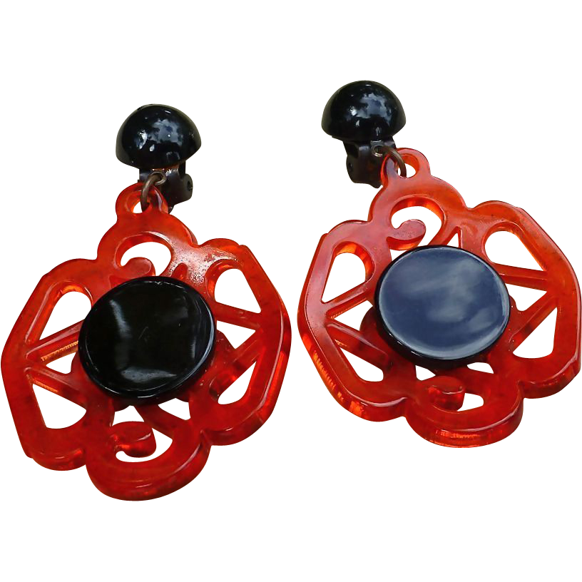 Bold Resin Earrings, Red And Black