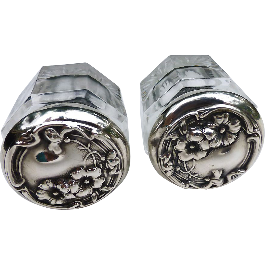 Floral  Art Nouveau Pair Sterling Silver Top Dresser Jars