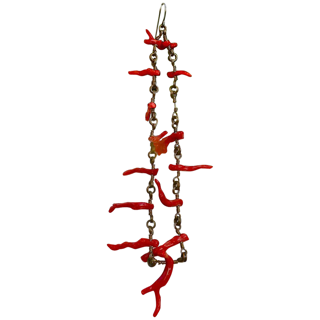 Vintage Shoulder Duster Branch Coral Earrings - Chandelier