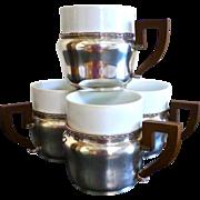 Unusual Demi Tasse Cup Holders, 800 Silver, Porcelain Inserts