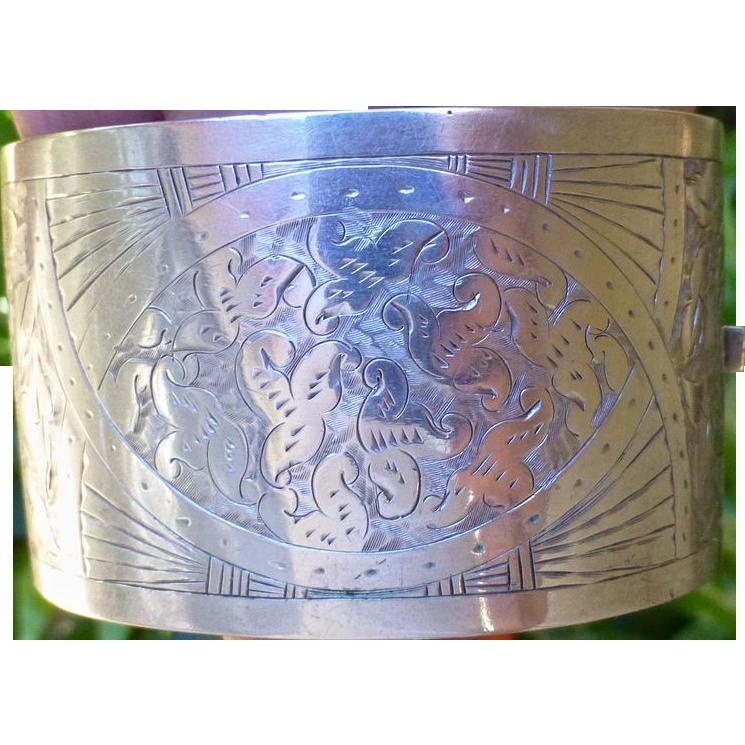 Victorian Sterling Silver Wide Cuff Bangle Bracelet.
