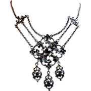 Austro Hungarian Period Silver (835) Garnet Draping Necklace