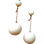 Art Deco 14K Rose Gold And Angel Skin Coral Earrings