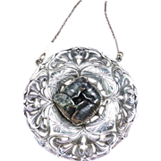 Fine Large Silver Art Nouveau Pendant With Chain