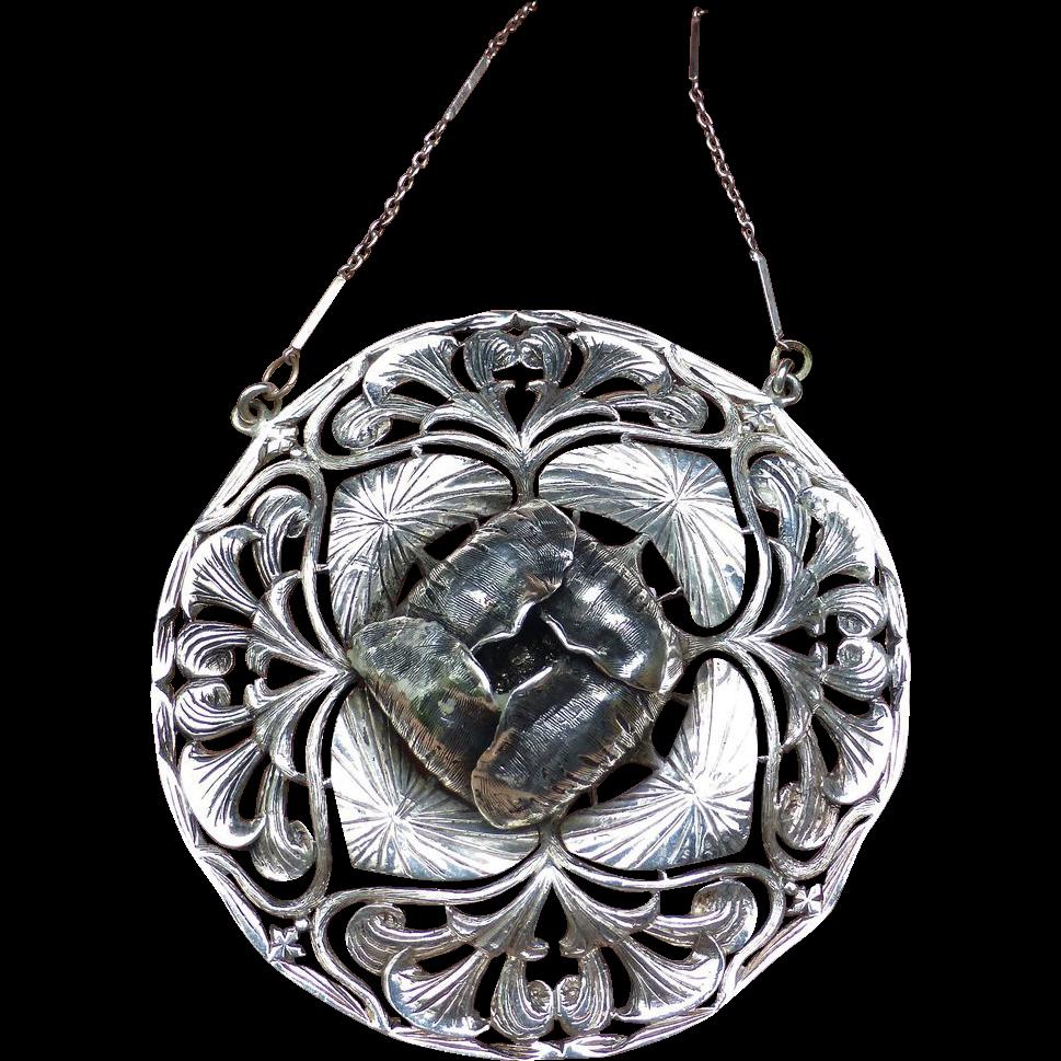 Fine Large Silver Art Nouveau Pendant With Chain