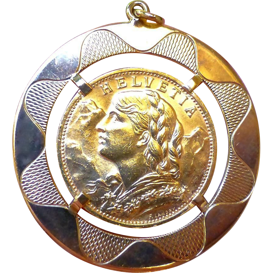 Lovely Swiss Sovereign Gold Coin In Gold Pendant Holder - 1927