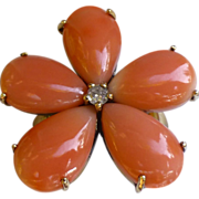 Lovely Vintage Five Petaled Floral Coral And Gold Ring