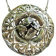 Large Ornate Art Nouveau Sterling Silver Pendant On Chain