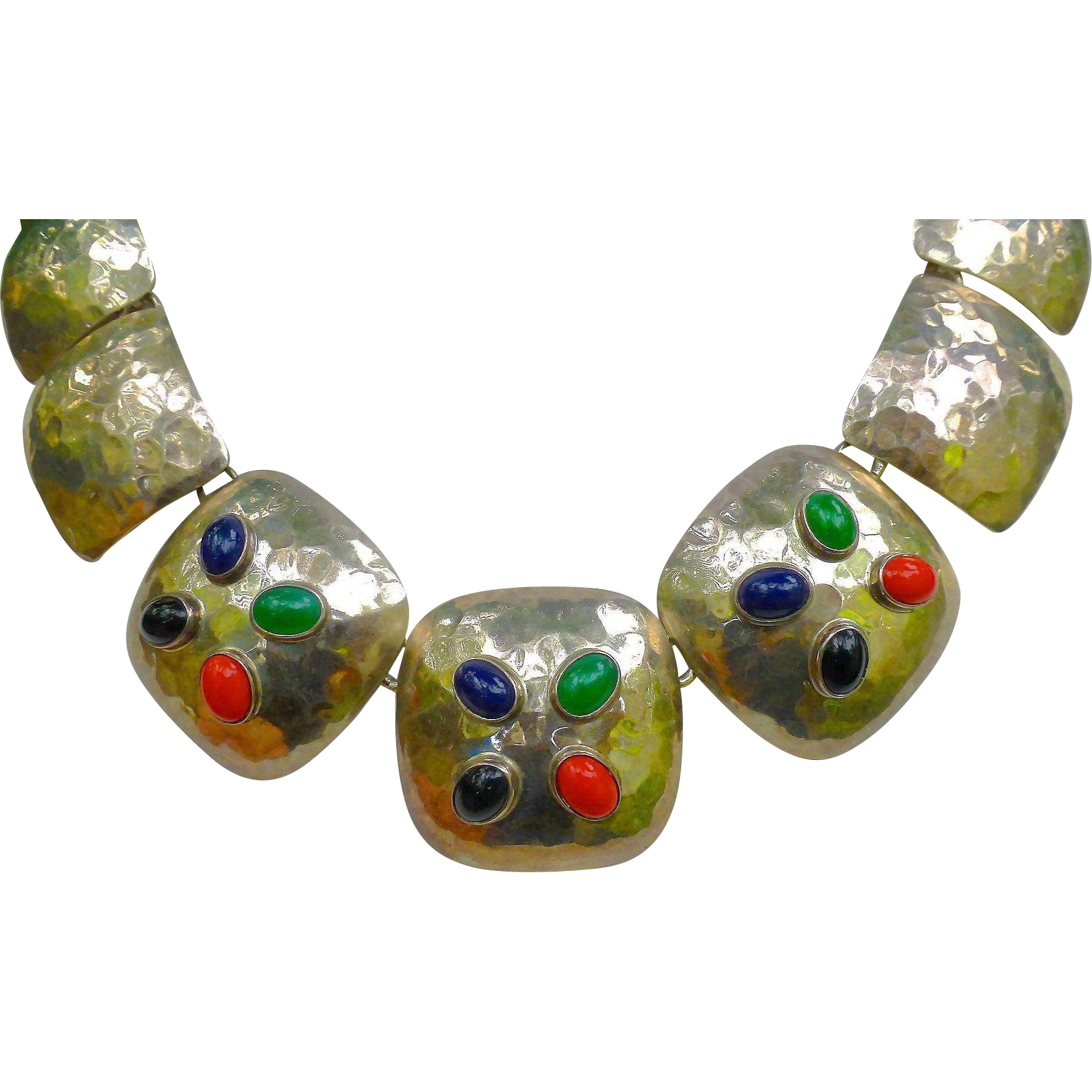 Bold Mid Century Modernist Hammered Necklace Sterling Silver - Multi Colored Gem Stones