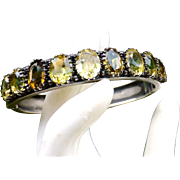 Antique Victorian Sterling Silver And Cushion Cut Citrine Stones Hinged Bangle Bracelet - 1860's