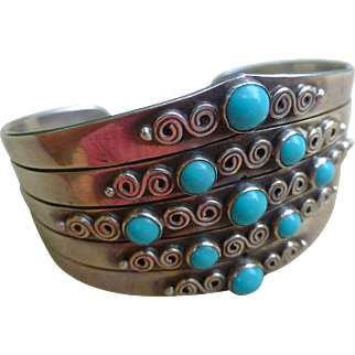 Early Taxco Sterling Silver Cuff Bracelet With Turquoise Blue Stones - Eagle mark - Marker's Initials
