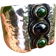 Arts And Crafts Movement Hand Hammered Bracelet With Agate Gem Stones - Sterling Silver