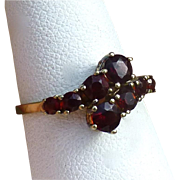 Vintage Bohemian Garnet Cross Over Ring, 9 Carat