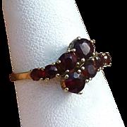 Vintage Bohemian Garnet Cross Over Ring, 9 Carat