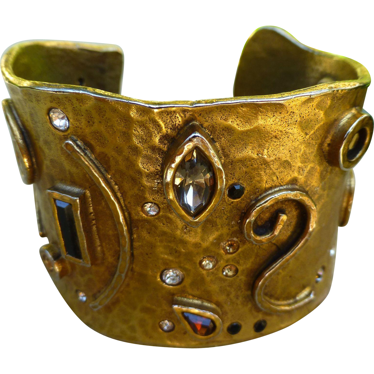 Vintage Patricia Locke Eye Catching Gilded Metal And Crystal Hammered Cuff Bracelet - Etruscan Style