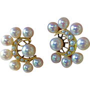 Vintage Retro Pearl Cluster And 14K Rose Gold Earrings