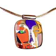 "Vintage Alessandro Menegatti Sterling Silver and Enamel Pendant ""Picasso Collection"""