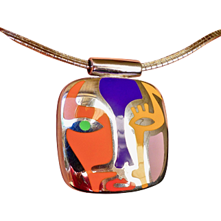 """Vintage Alessandro Menegatti Sterling Silver and Enamel Pendant """"Picasso Collection"""""""