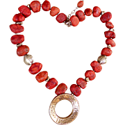 Sterling Silver And  Sponge Coral Bead Necklace - Sipalda